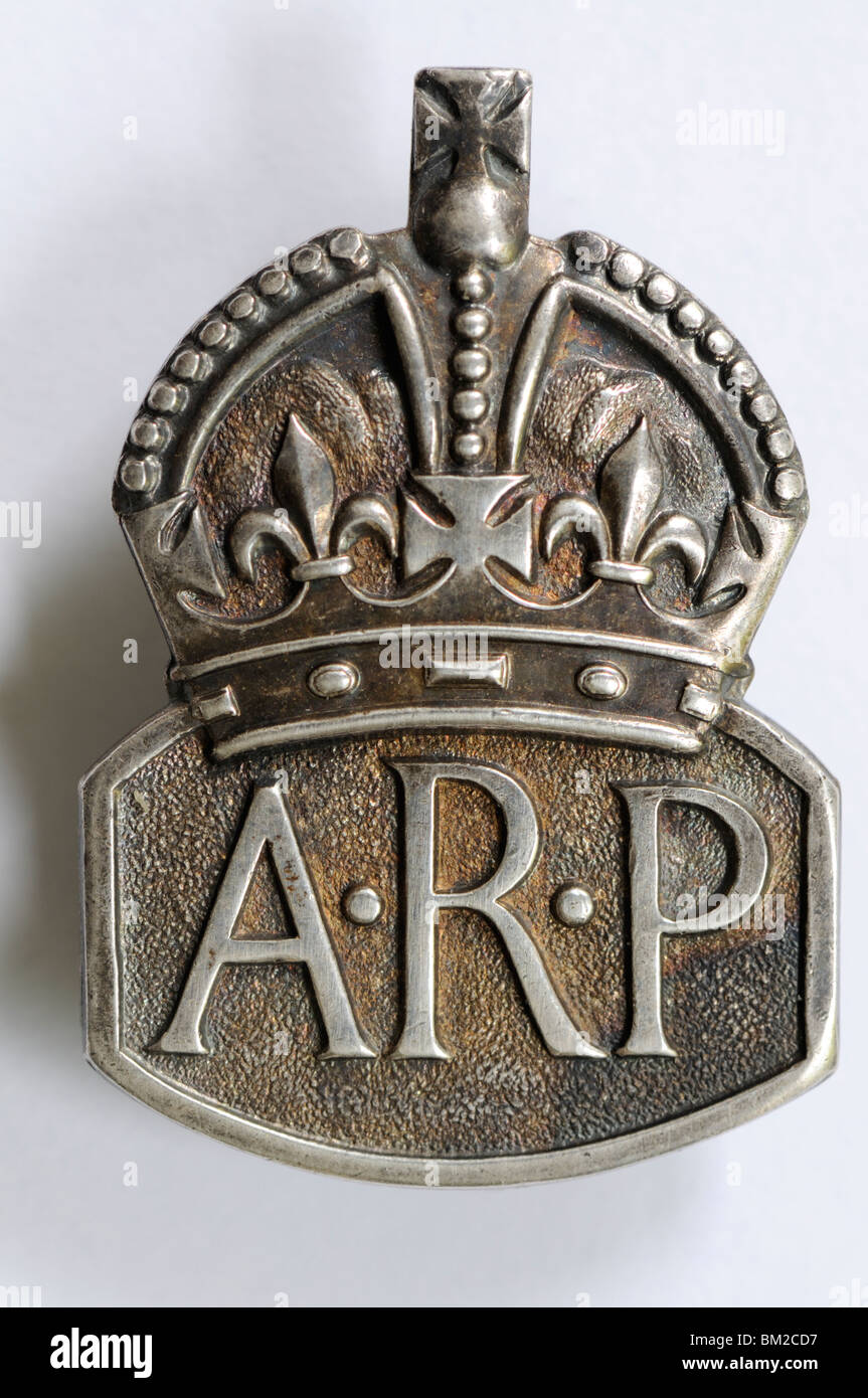Silver ARP / Air Raid Precaution badge from Second World War - Stock Image