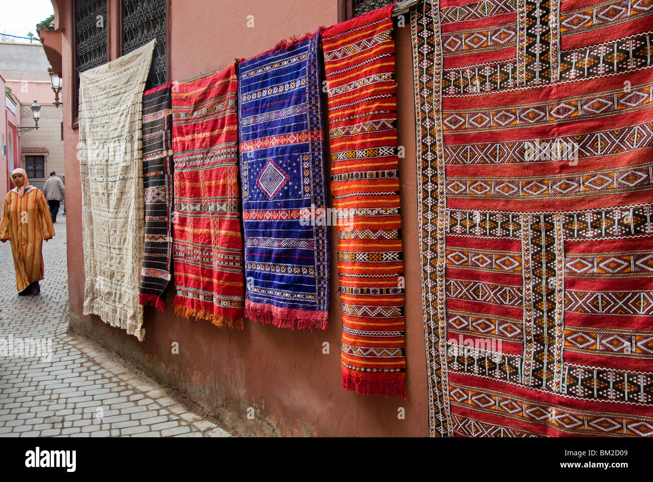 Carpets for sale in the souk, Marrakech (Marrakesh), Morocco - Stock Image