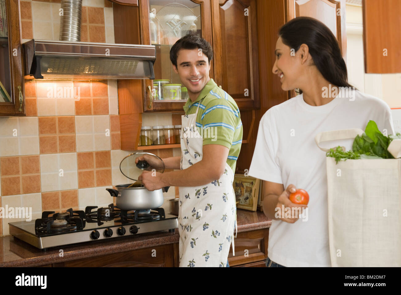 Indian Wife Preparing Food Stock Photos Indian Wife Preparing