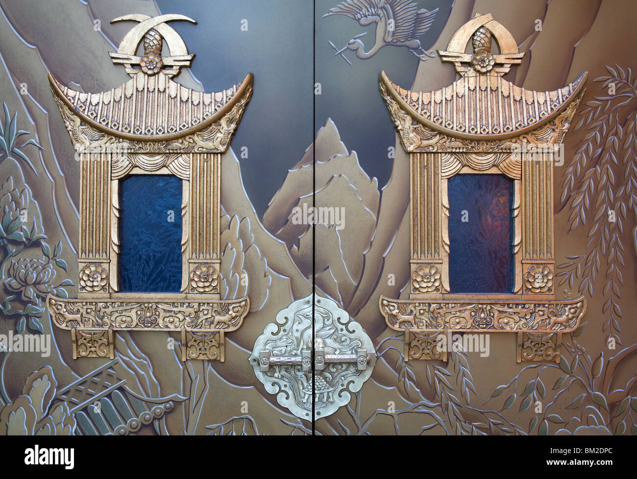 Door detail of Grauman's Chinese Theater, Hollywood Boulevard, Hollywood, California, USA - Stock Image