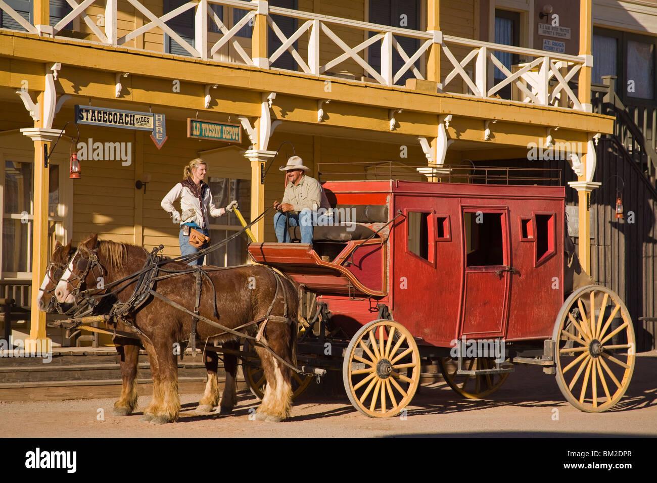 Wagon in Old Tucson Studios, Tucson, Arizona, USA - Stock Image