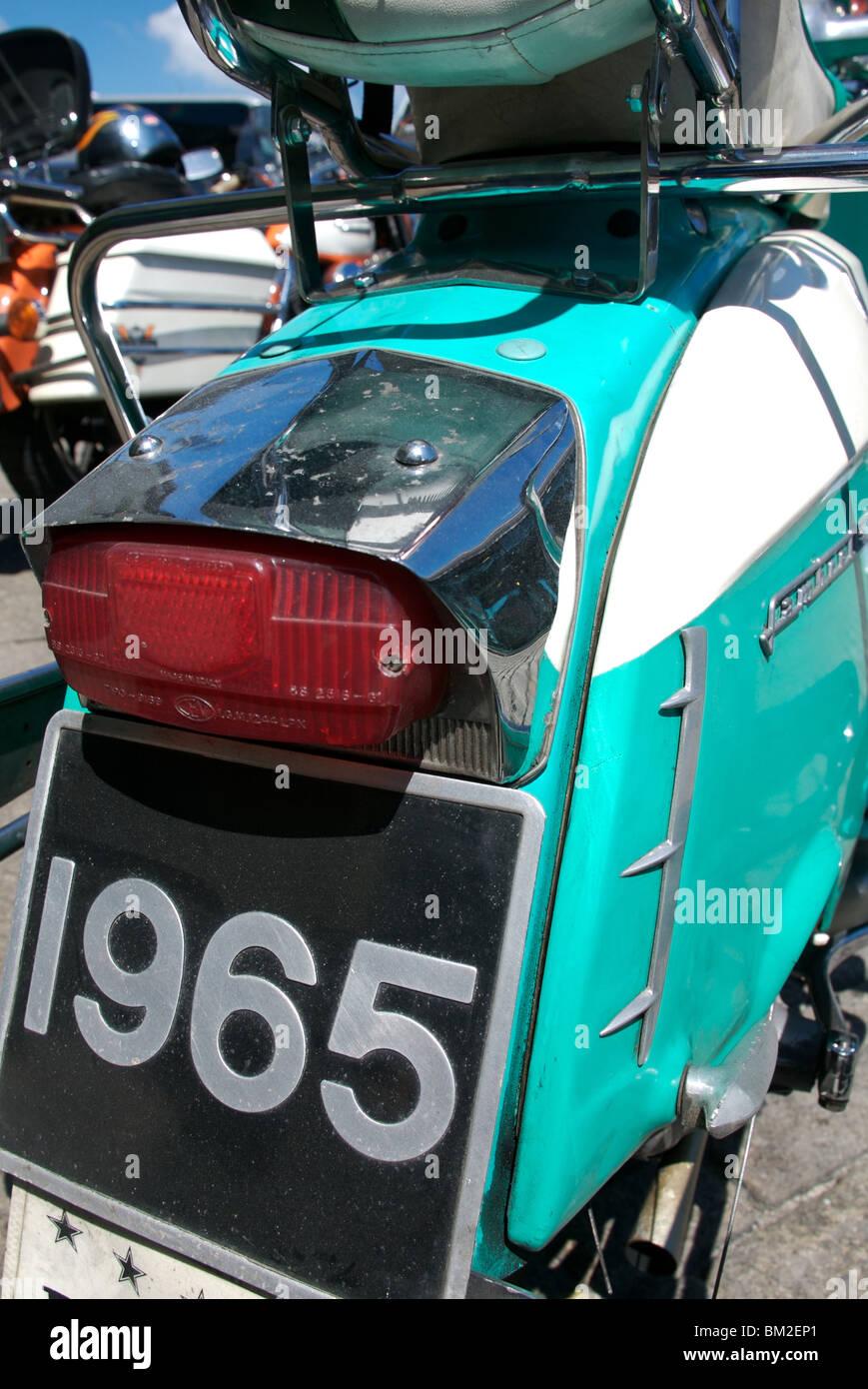 Two tone 1965 Lambretta moped, Plymouth, Devon, UK - Stock Image