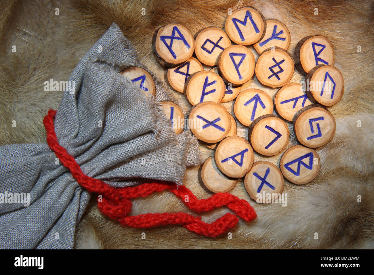 Runes with pouch on the fur - Stock Image