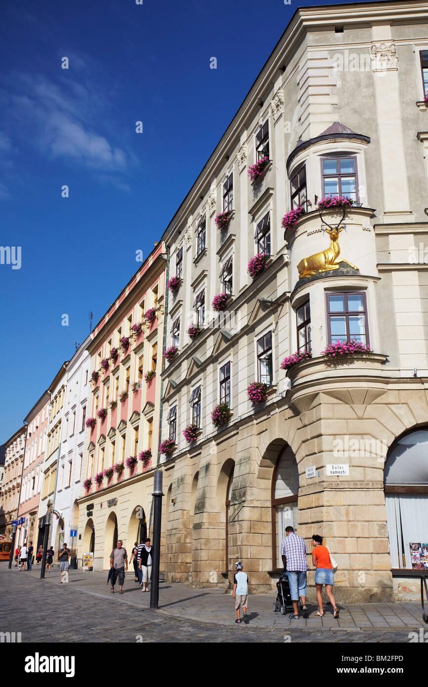 Architecture in Upper Square (Horni Namesti), Olomouc, Moravia, Czech Republic - Stock Image