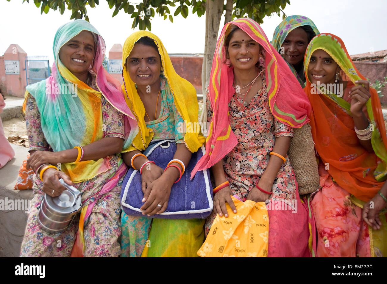 Women waiting for village jeep after their morning shift working with cows, Binawas, Rajasthan, India - Stock Image