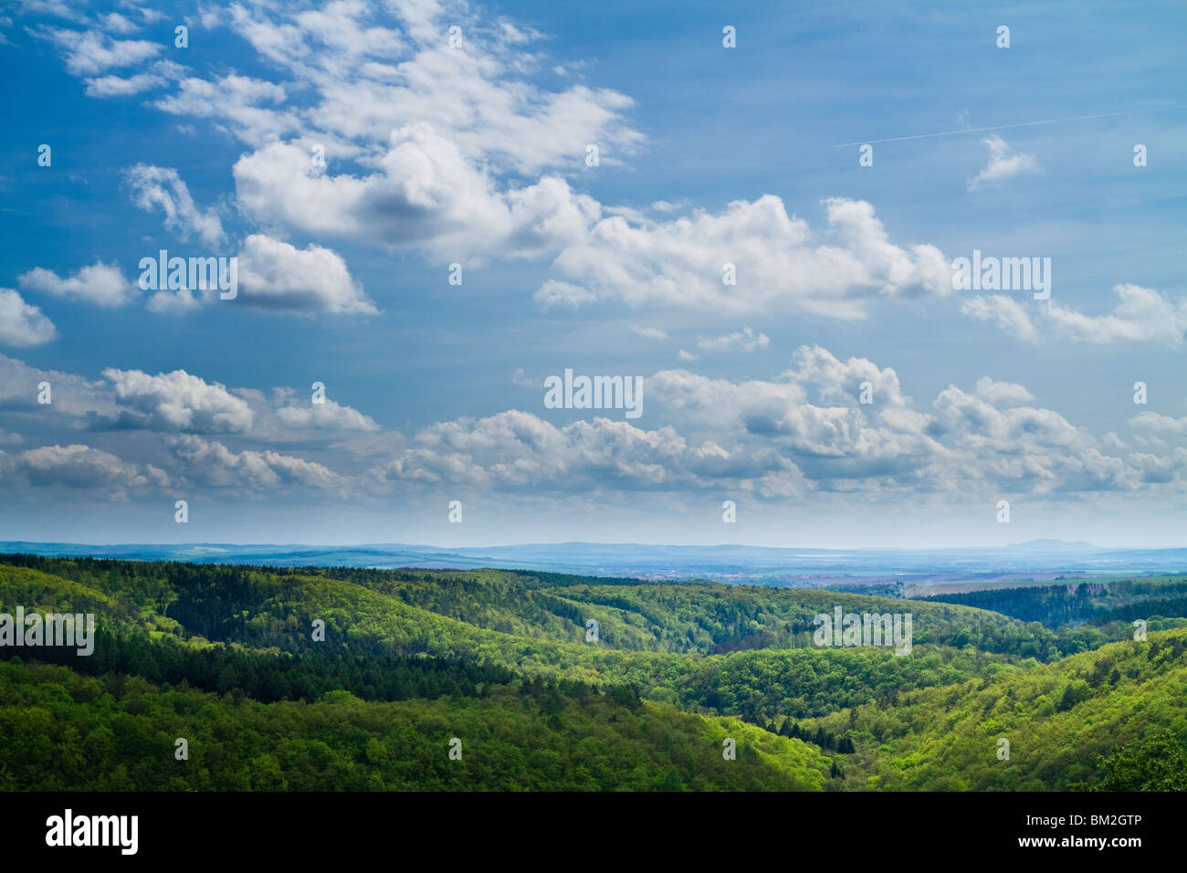 Spring hills with dominant sky - Stock Image