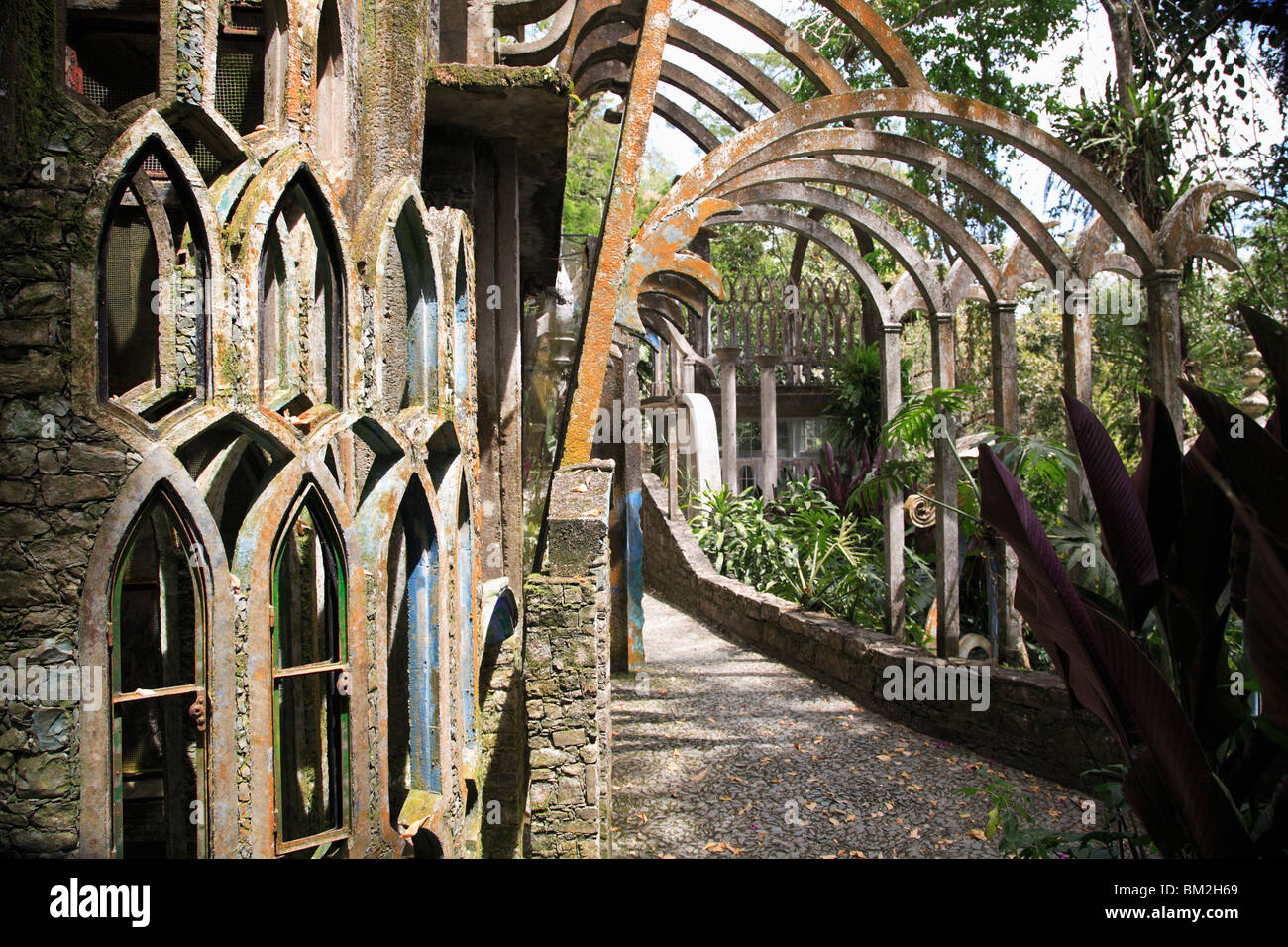 Las Pozas (the Pools), surrealist sculpture garden and architecture created by Edward James, Xilitla, Mexico - Stock Image