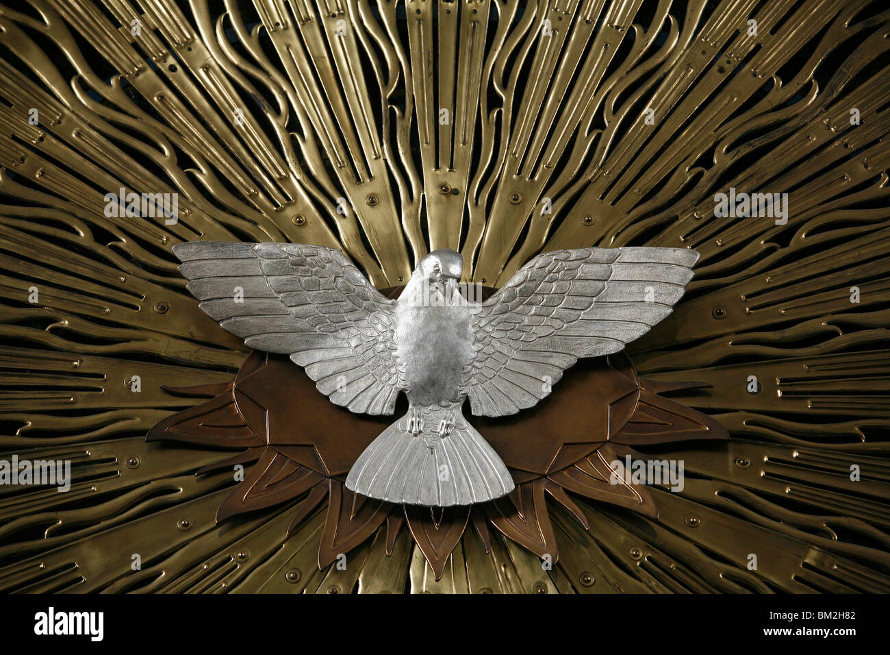 Heiliggeistkirche church holy spirit dove by Joseph Plecnik, Vienna, Austria - Stock Image