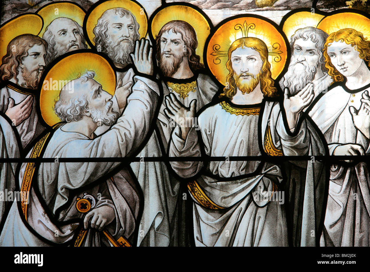 Stained glass window of St. Peter protesting his fidelity to Christ, Notre Dame de Beaune church, Beaune, Cote d'Or, - Stock Image