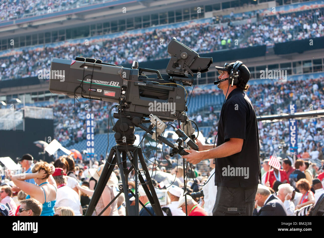 HD Camera at Invesco Field - Stock Image