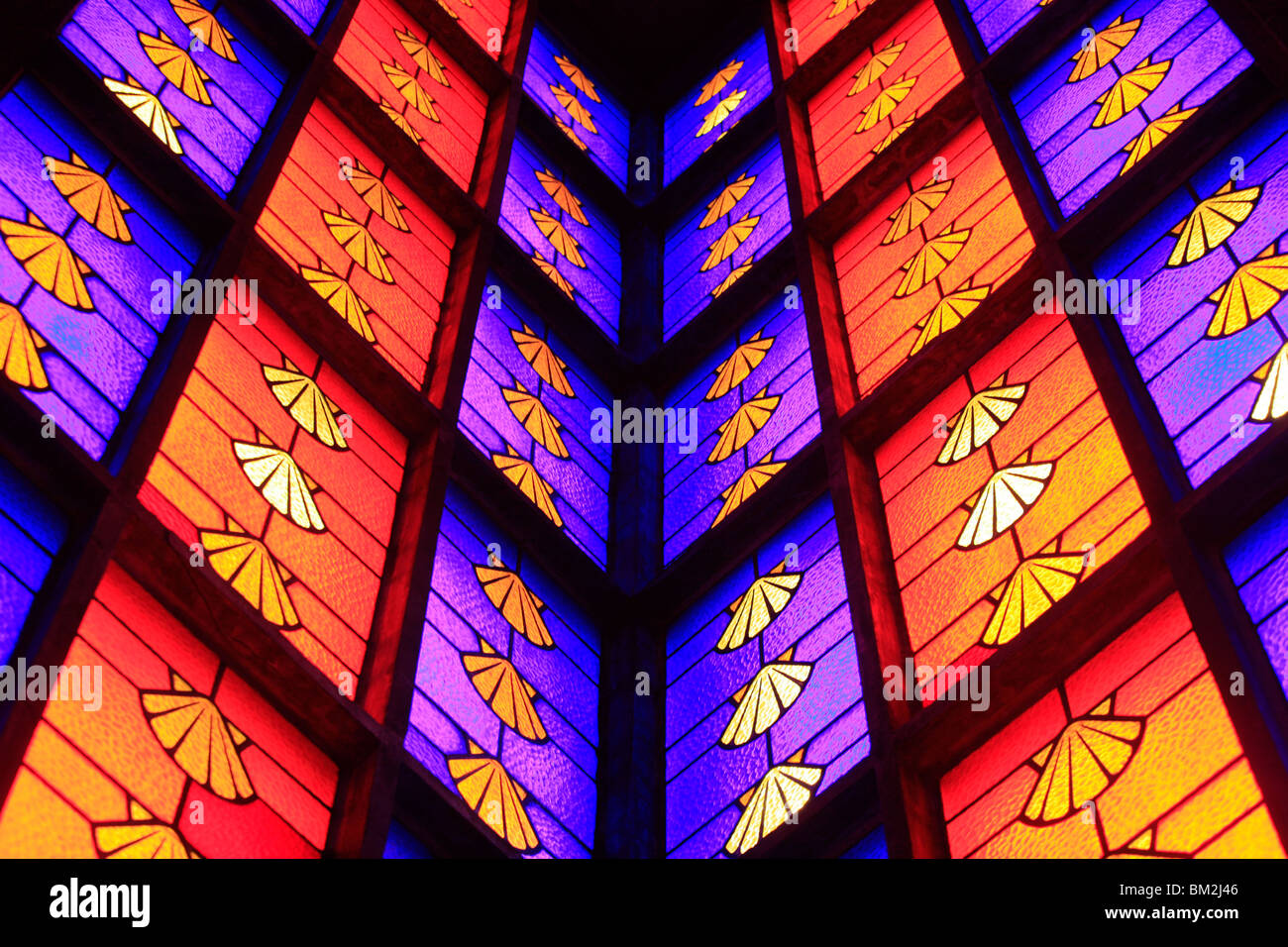 Stained glass window depicting shells, Montrouge, Hauts de Seine, France - Stock Image