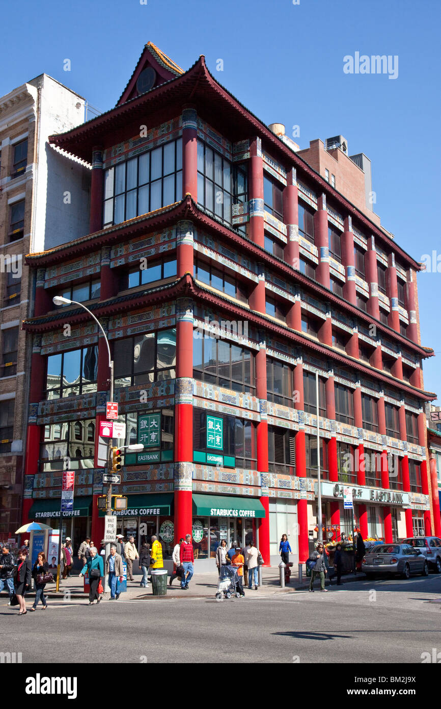 Old Golden Pacific National Bank Building on Canal Street in Chinatown, Manhattan, New York Stock Photo