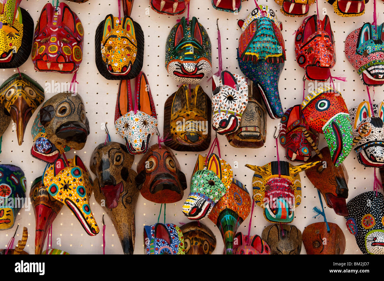 Traditional masks, Santiago Atitlan, Lake Atitlan, Guatemala. - Stock Image