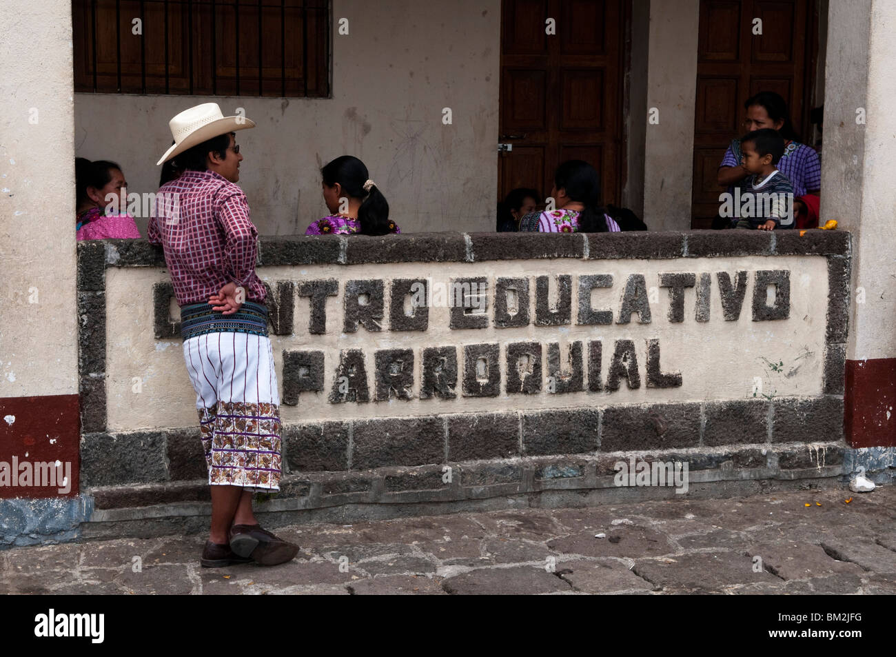 School of Santiago Atitlan, Lake Atitlan, Guatemala. - Stock Image
