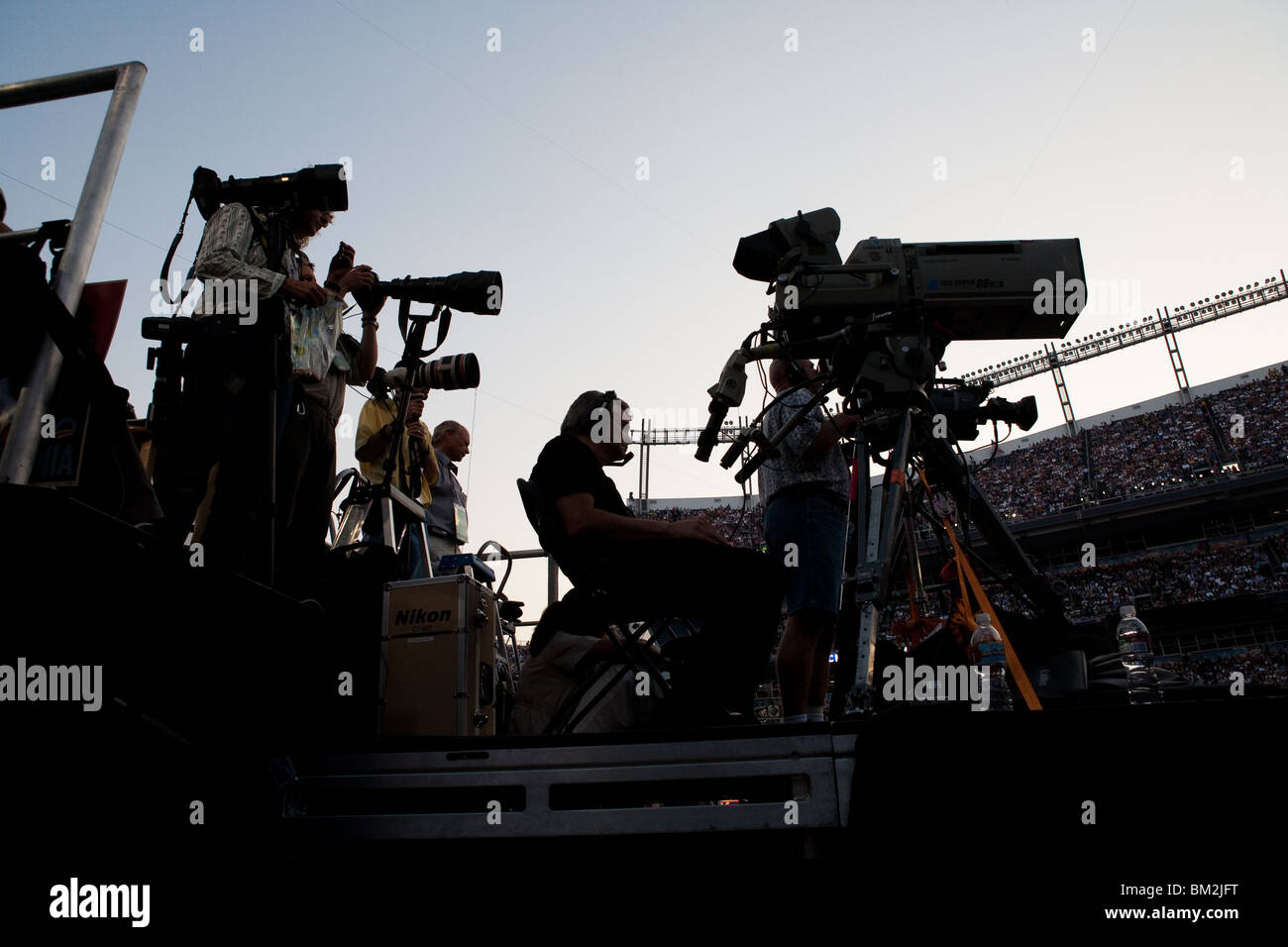 Silhouette of Cameras at Invesco - Stock Image