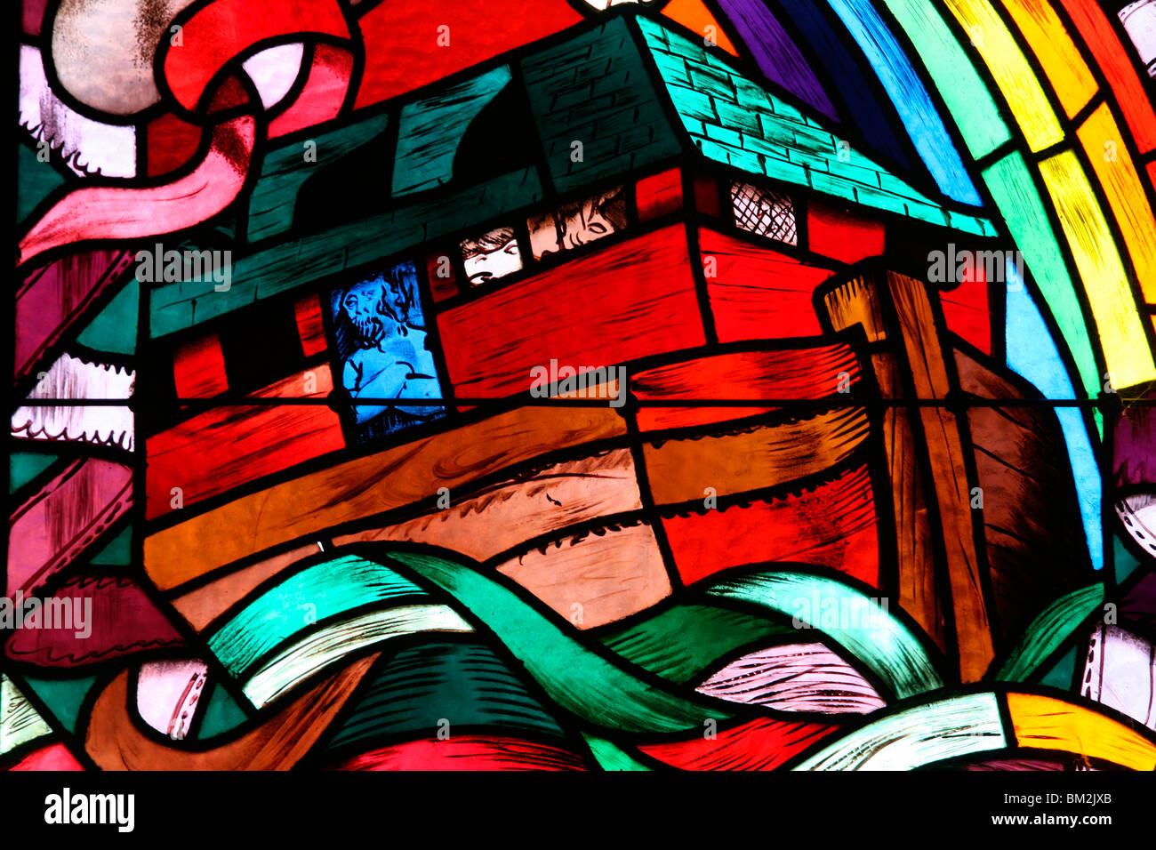 Noah's Ark depicted in stained glass window, Saint-Joseph des Fins church, Annecy, Haute Savoie, France Stock Photo