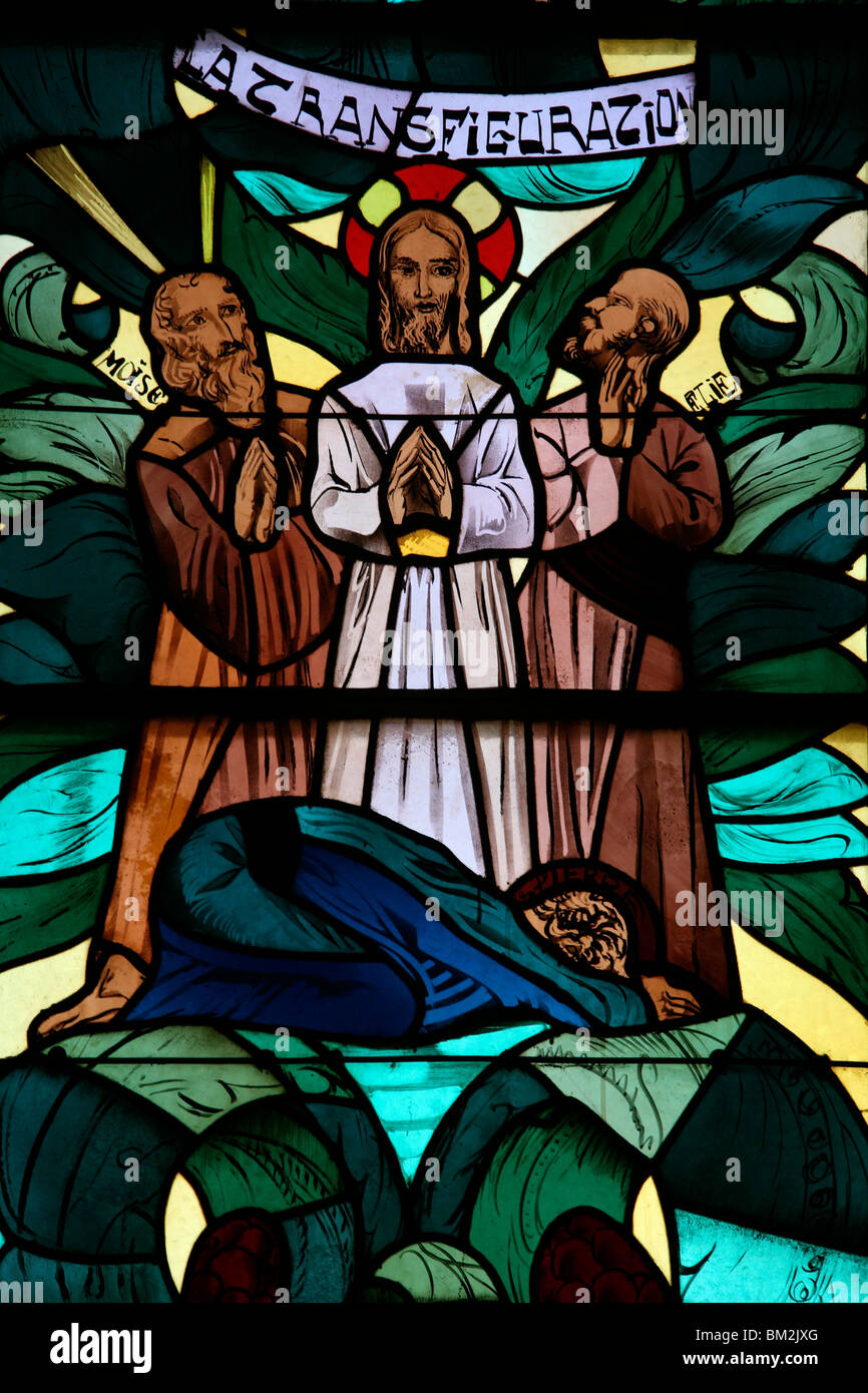 The Transfiguration in the stained glass window of Saint-Joseph des Fins church, Annecy, Haute Savoie, France Stock Photo
