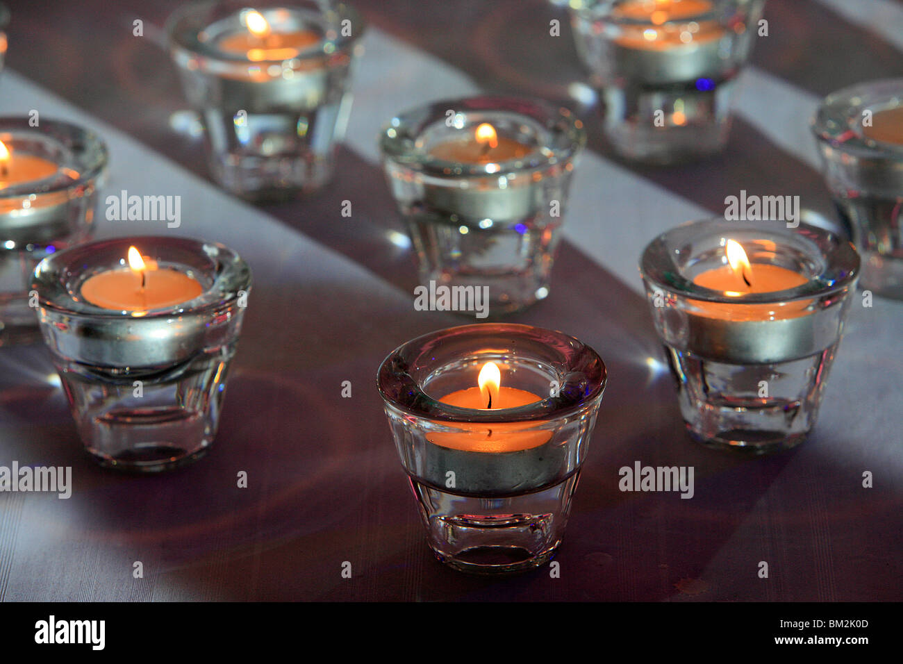 Detail of several of the 13 candles for a Bar Mitzvah, Paris, France - Stock Image