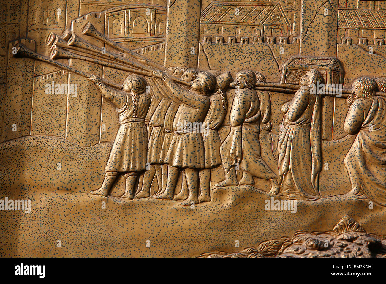 Depiction of the Walls of Jericho on the Gate of Paradise door of the Baptistry of San Giovanni, Florence, Italy - Stock Image