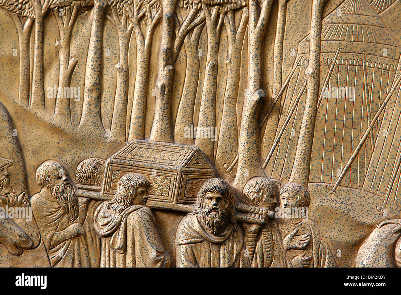 Depiction of the Ark of Alliance, Gate of Paradise door of the Baptistry of San Giovanni, UNESCO Site, Florence, - Stock Image