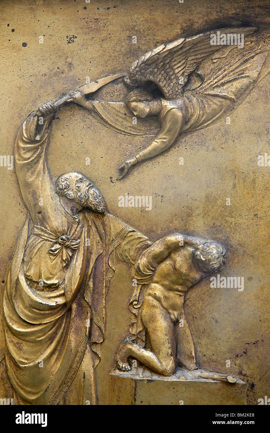 Depiction of Abraham sacrificing Isaac, Gate of Paradise door of the Baptistry of San Giovanni, Florence, Italy - Stock Image