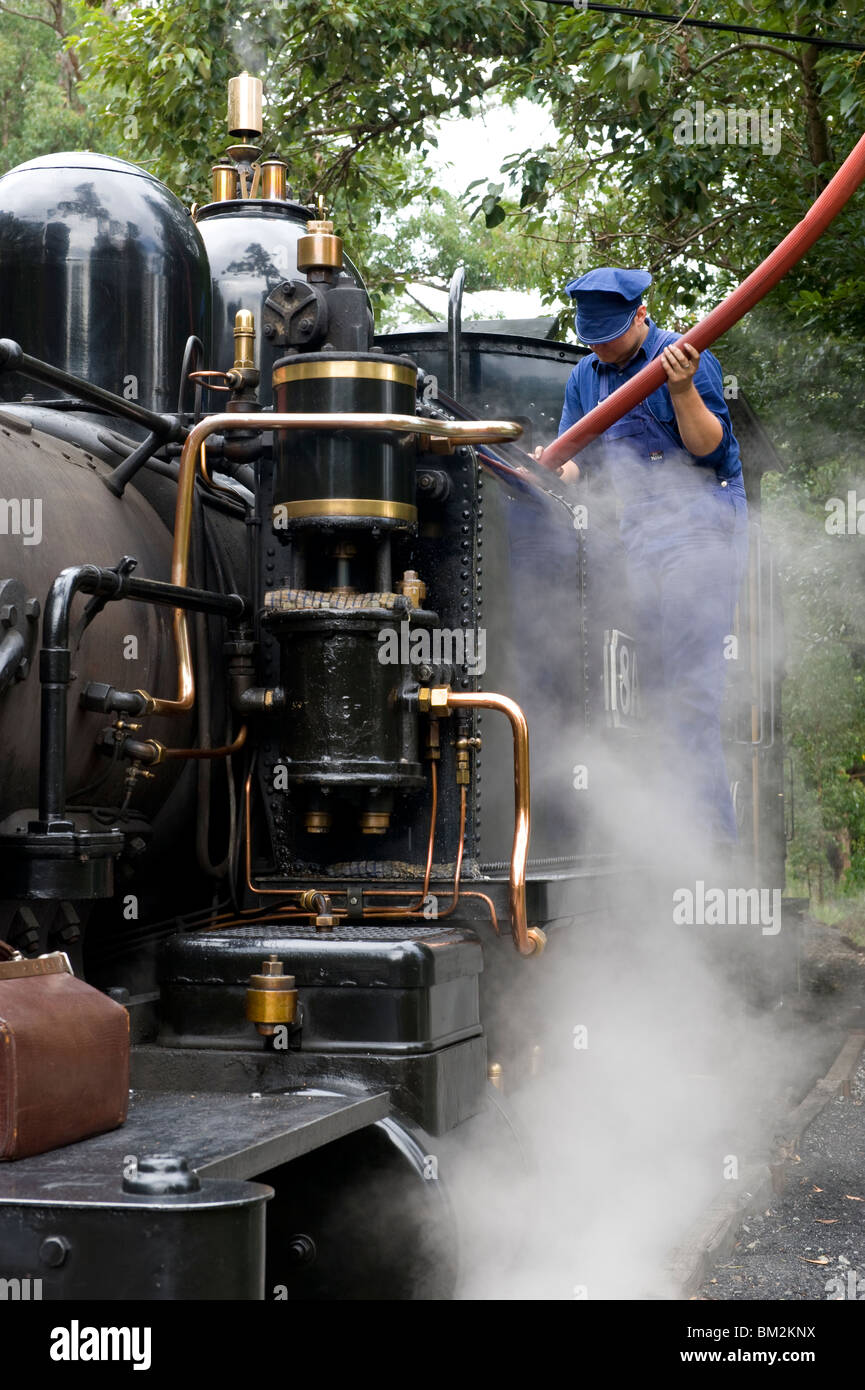 A steam locomotive of the Puffing Billy steam railway in the Dandenongs near Melbourne, Victoria, Australia - Stock Image