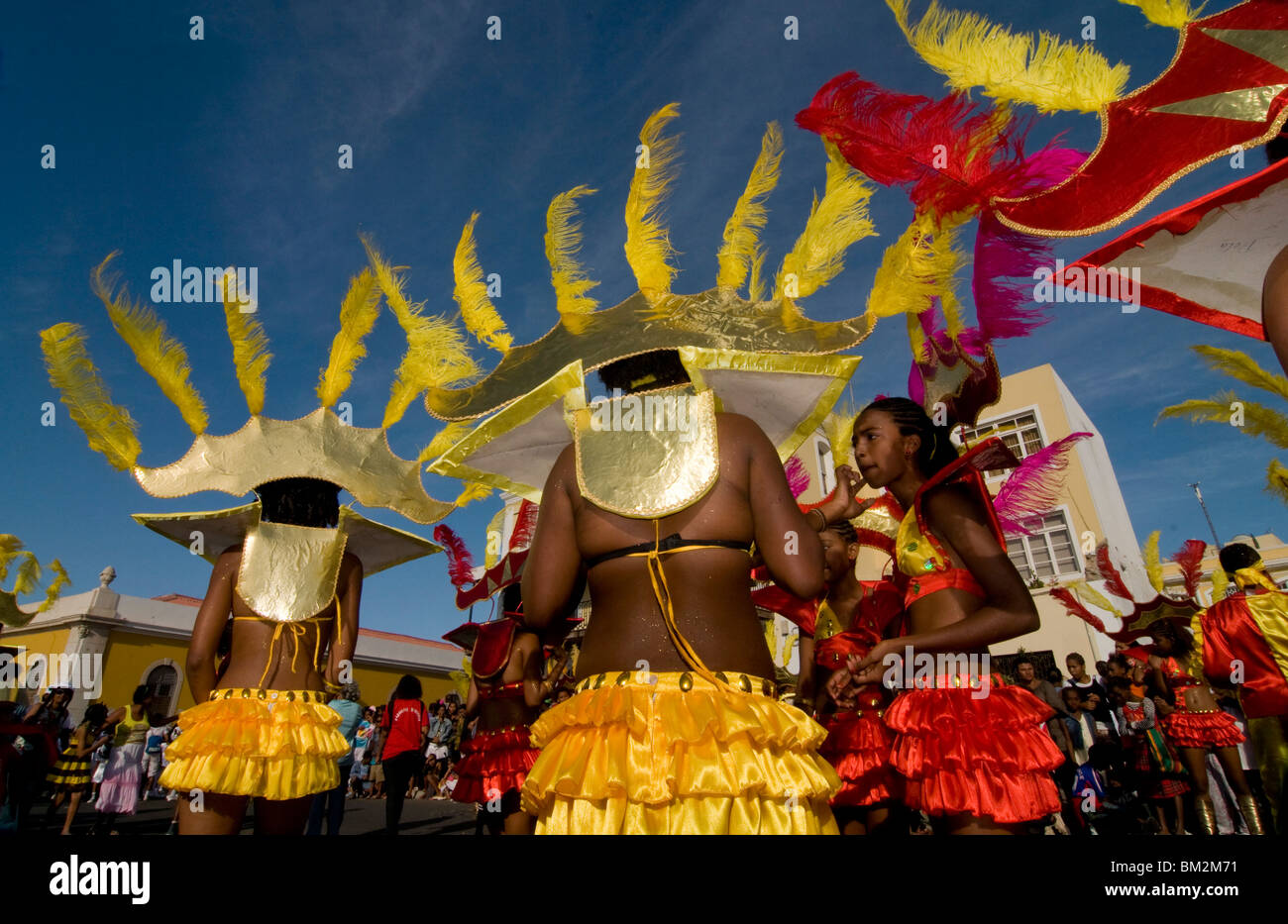Women in colourful Carnival costume dancing, Mindelo, Sao Vicente, Cape Verde - Stock Image