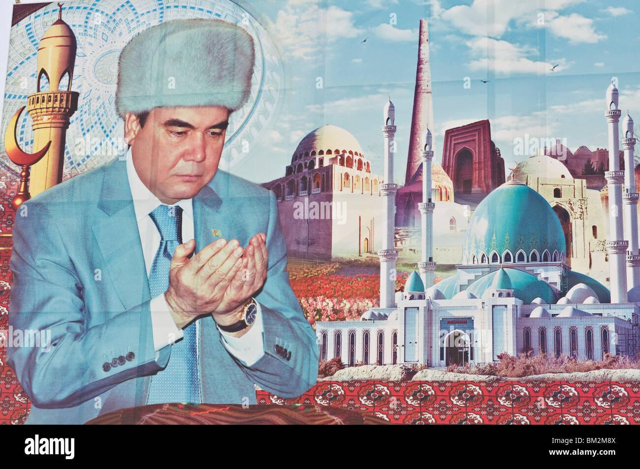 Propaganda poster of Turkmenbashi the former leader of Turkmenistan - Stock Image