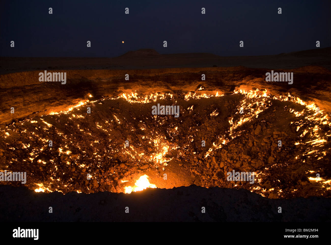 The Darvaza Gas Crater in the Karakol desert, Turkmenistan - Stock Image