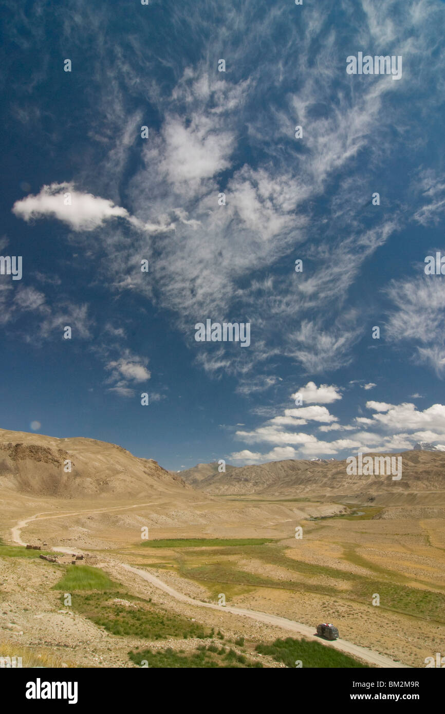 Open wide plains, Shokh Dara, Tajikistan - Stock Image
