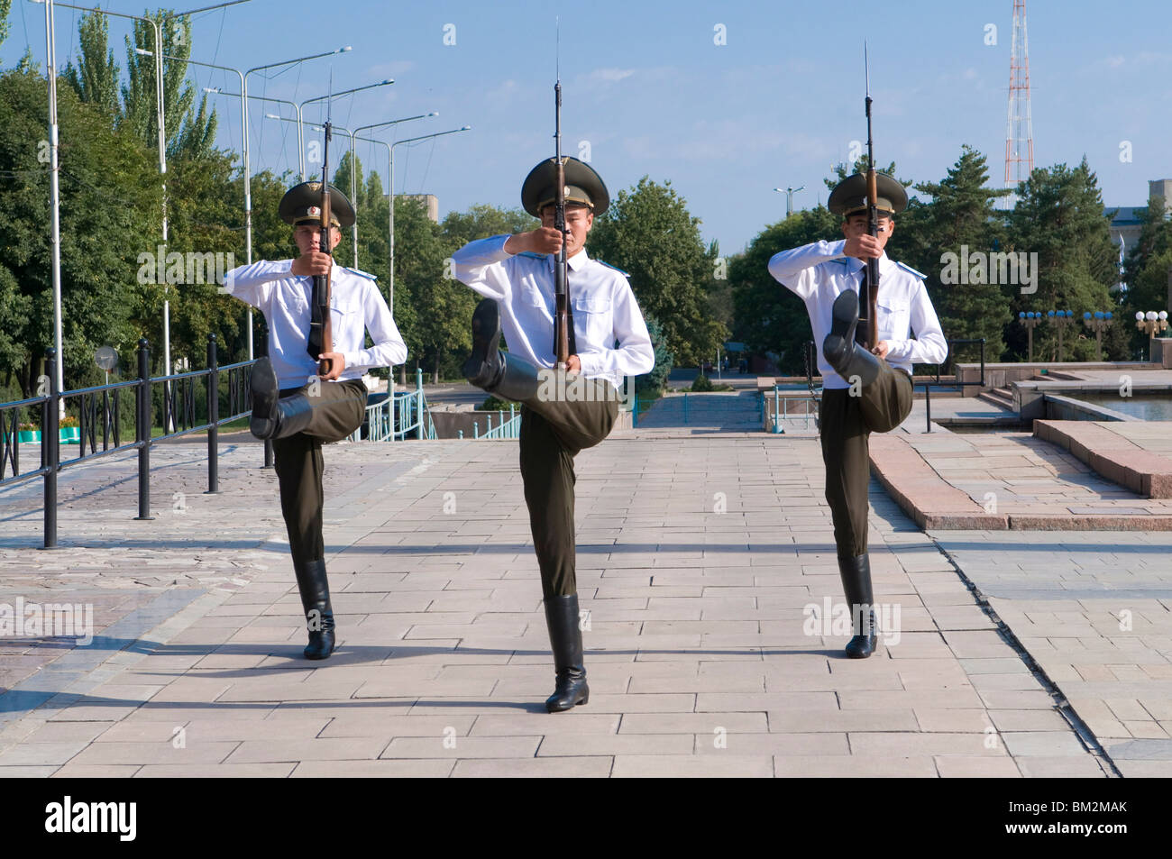 Soldiers on parade, Ala Too Square, Bishkek, Kyrgyzstan - Stock Image
