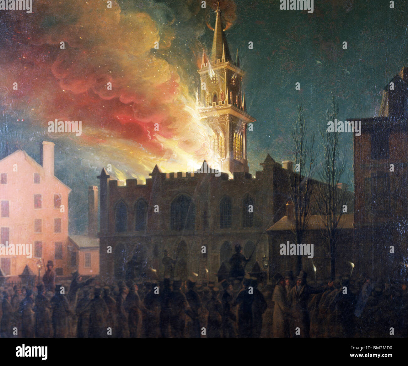Conflagration of the Masonic Hall by John Lewis Krimmell,  oil on wood panel,  1819,  (1789-1821) - Stock Image