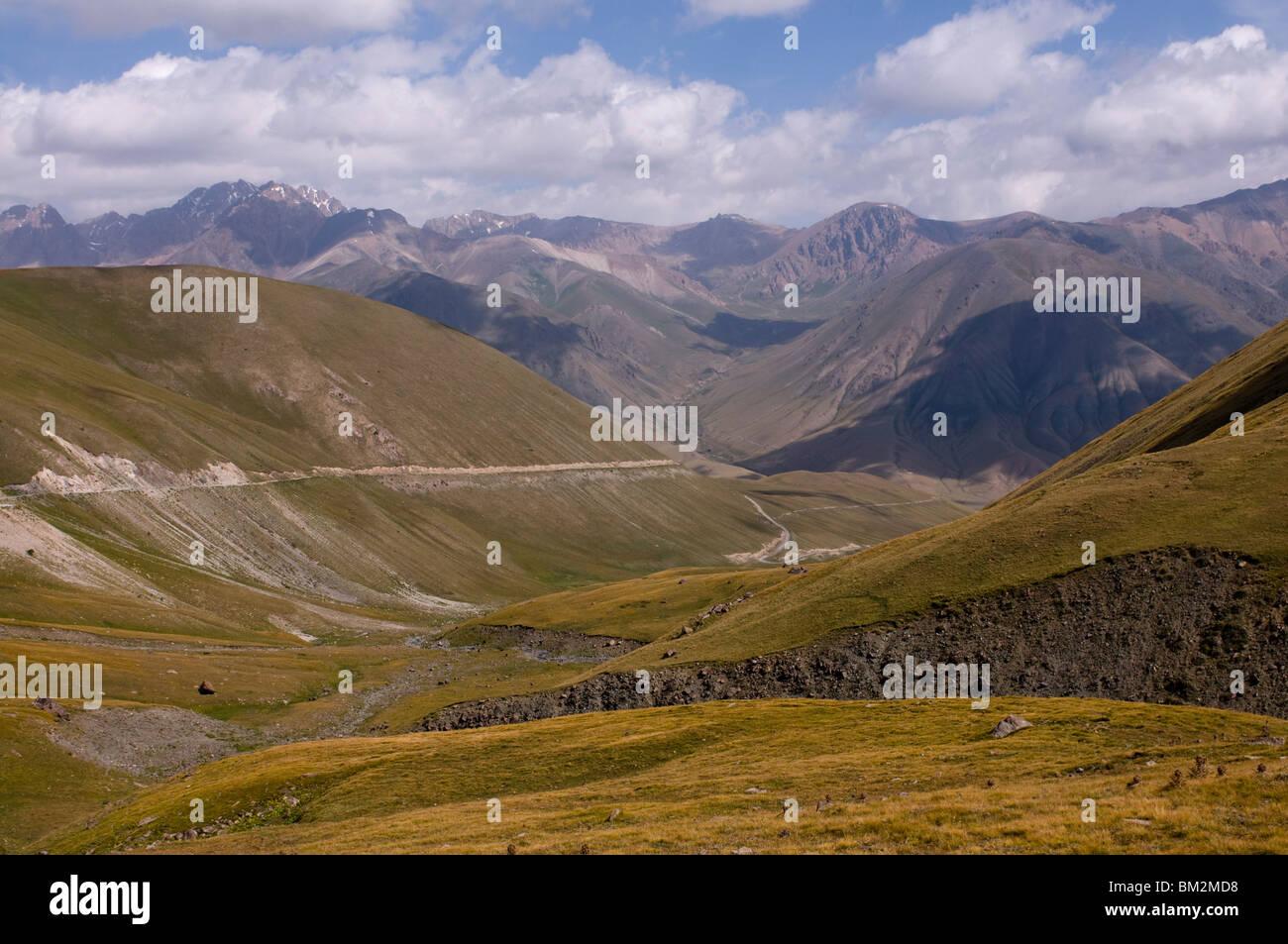 Wild mountain landscape, Song Kol, Kyrgyzstan - Stock Image