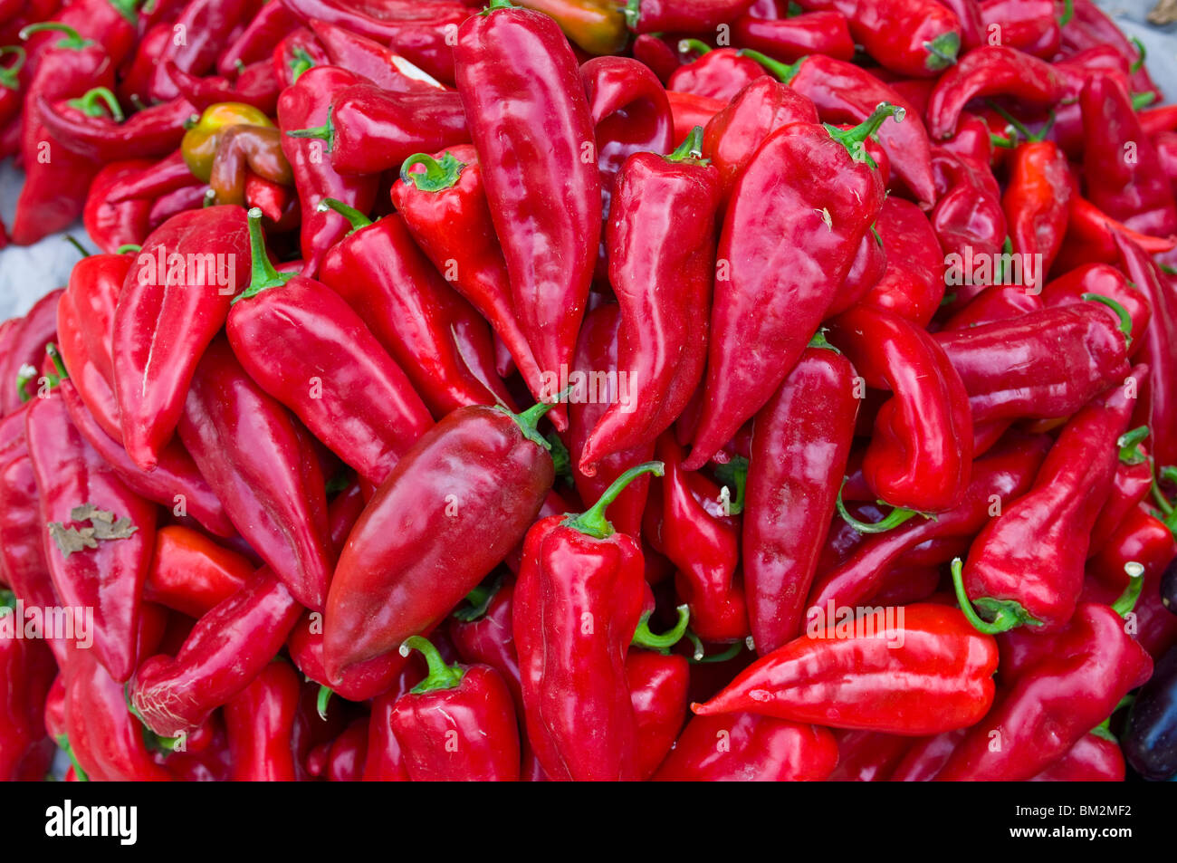 Close up of chillies in the Bazaar of Osh, Kyrgyzstan - Stock Image