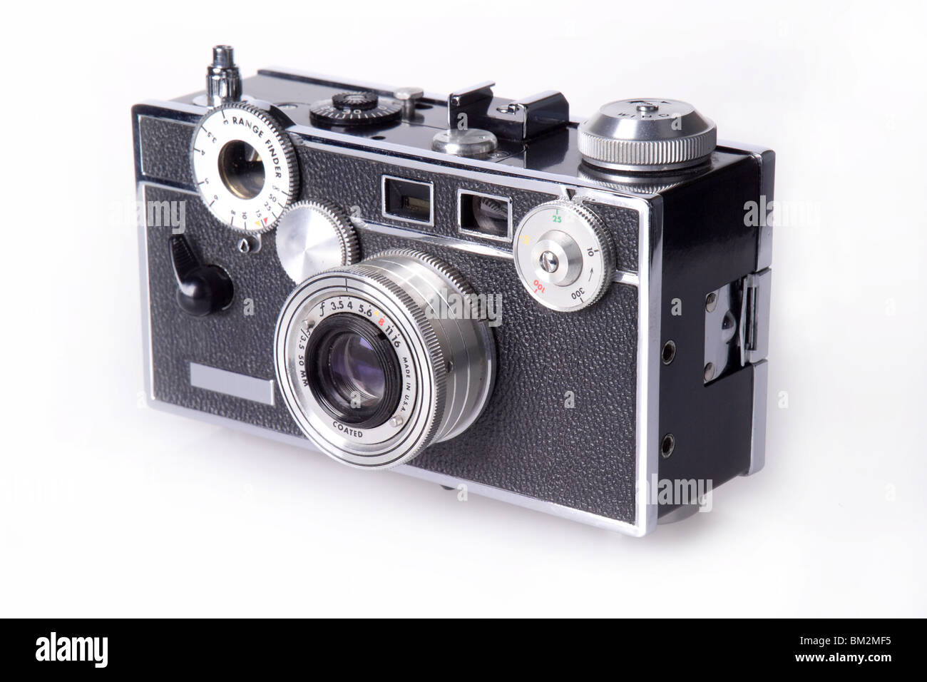 Side view of classic film rangefinder camera - Stock Image