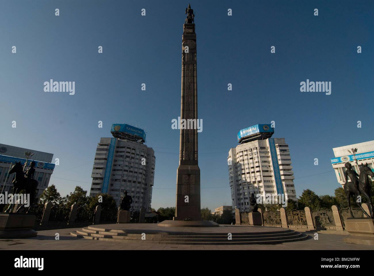 Monument of Independence obelisk, Alma Ata, Kazakhstan - Stock Image