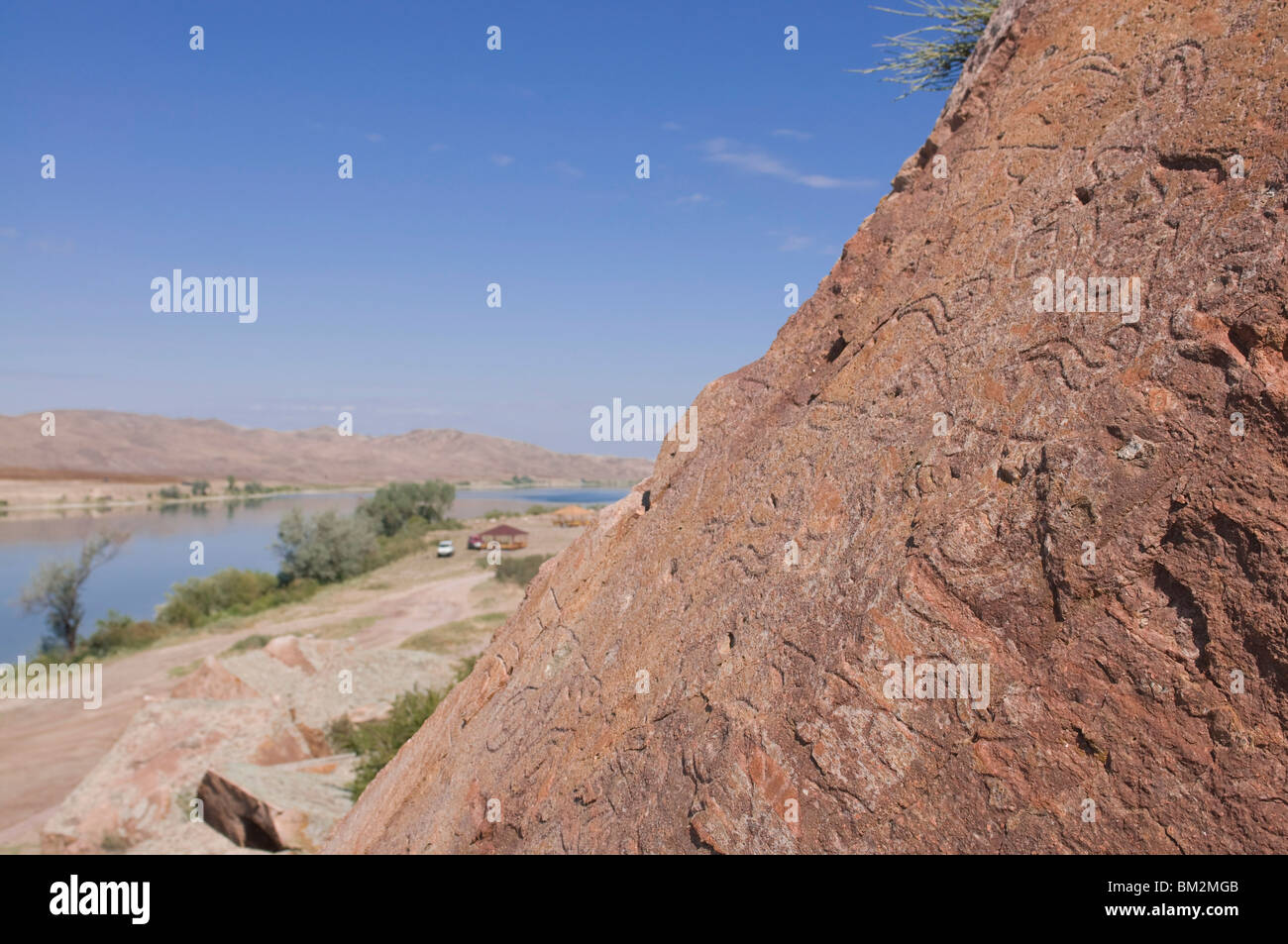Buddhist rock carvings, Tamagaly Das, Kazakhstan - Stock Image