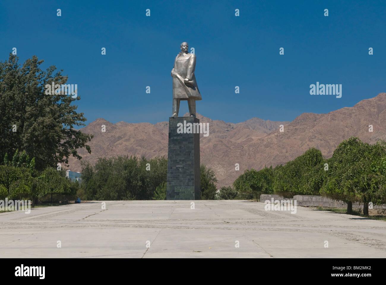 Statue of Lenin, Communism, Khojand, Tajikistan - Stock Image
