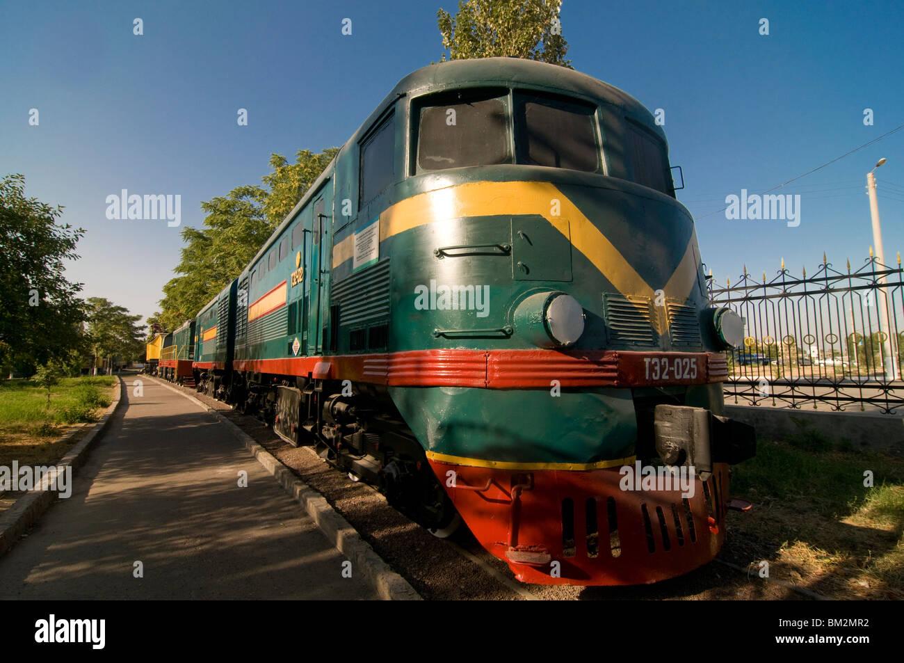 Front of an old  locomotive, Railway Museum, Tashkent, Uzbekistan Stock Photo