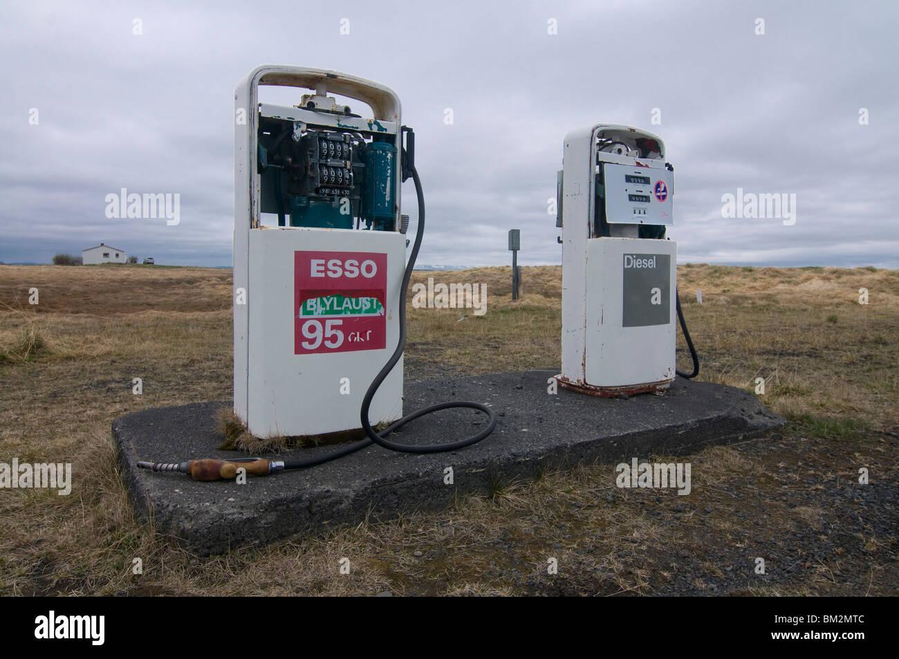 Old petrol pumps in wilderness, Krafla, Iceland, Polar Regions - Stock Image