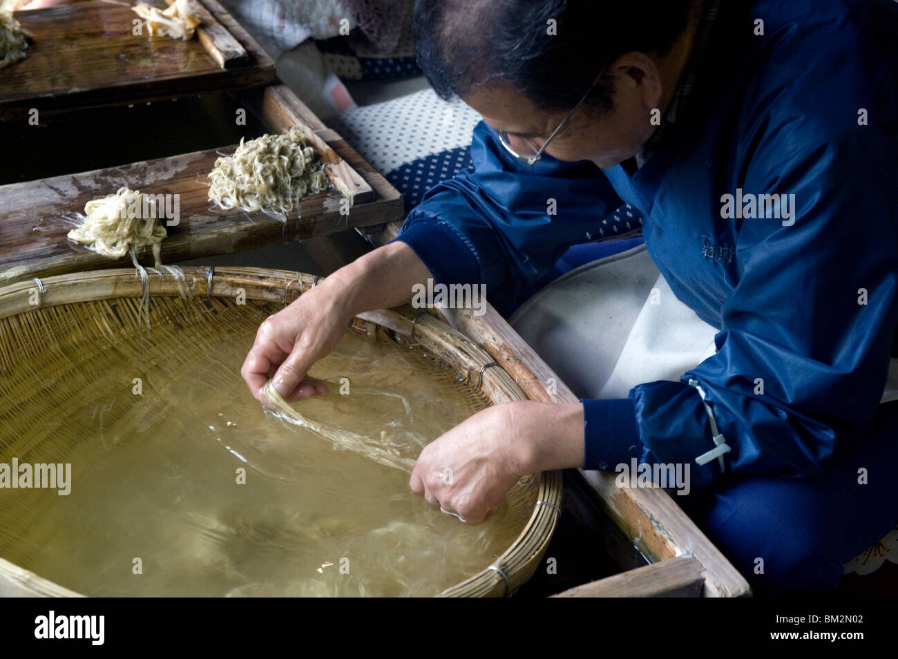 Separating mulberry fibers for making Japanese washi paper at the Echizen Washi No Sato village in Fukui, Japan - Stock Image