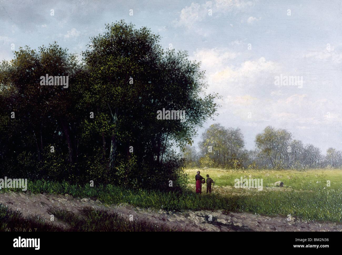 Barbizon Landscape by M. Donat,  oil on wood,  19th century,  USA,  Pennsylvania,  Philadelphia,  David David Gallery - Stock Image