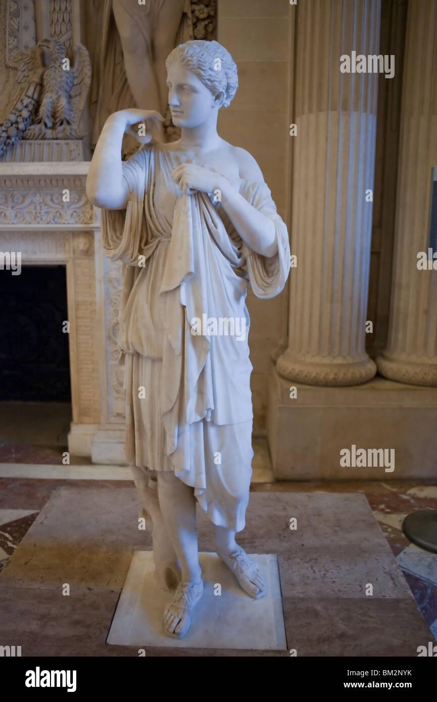 """Ancient Roman Sculpture on Display in Louvre Museum, Paris, France, """"Artémis, dite Diane de Gabies"""" marble sculpture Stock Photo"""