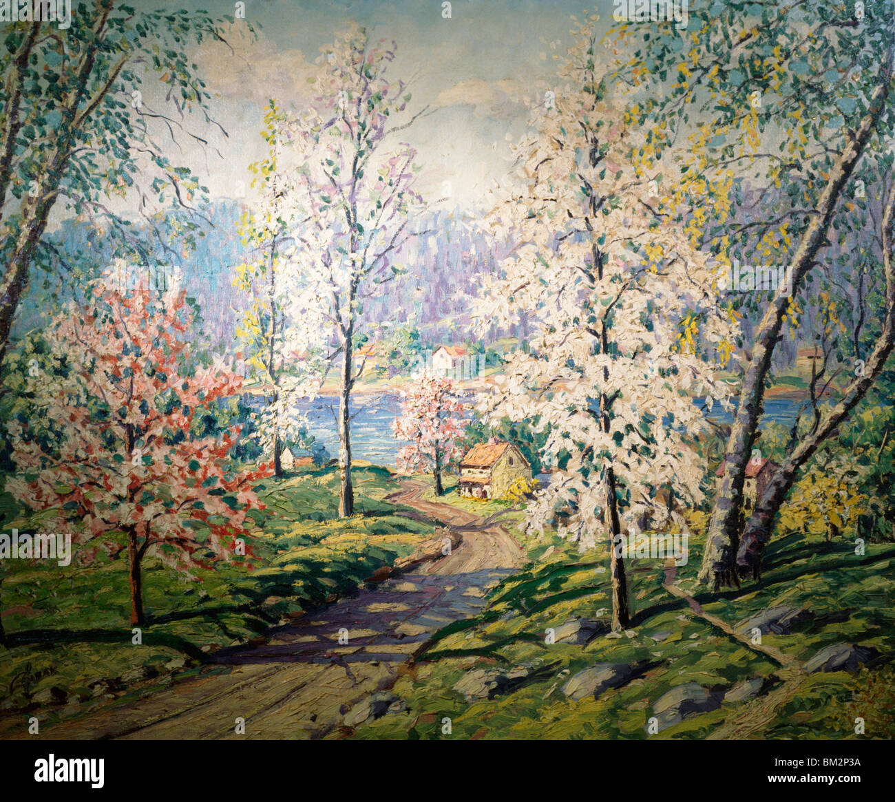 Spring Along The Delaware by Carol Sirak,  oil on canvas,  (1906-1976),  USA,  Pennsylvania,  Philadelphia,  David - Stock Image