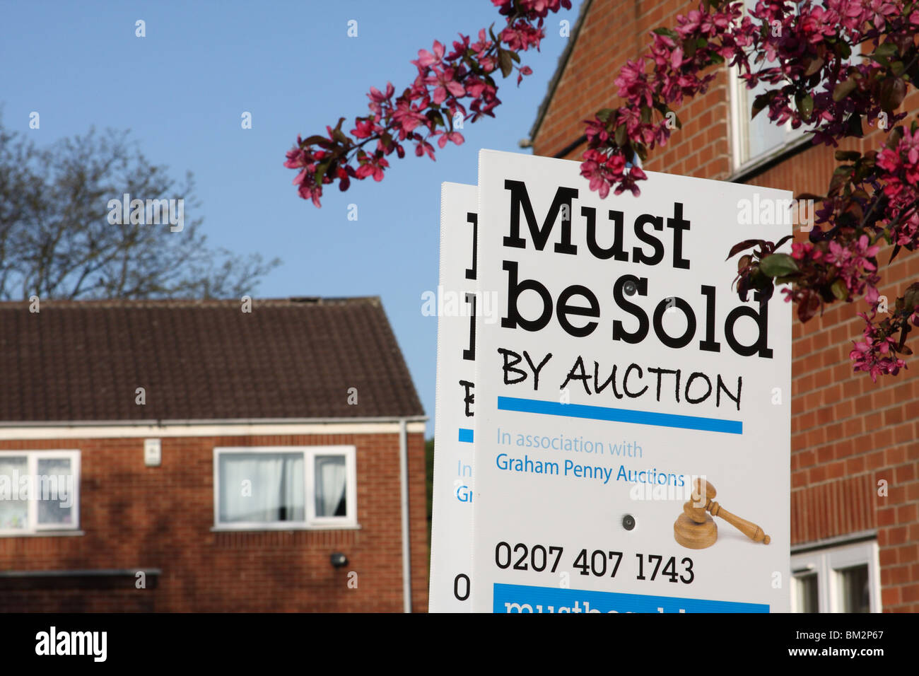 A house for sale by auction in a U.K. city. Stock Photo