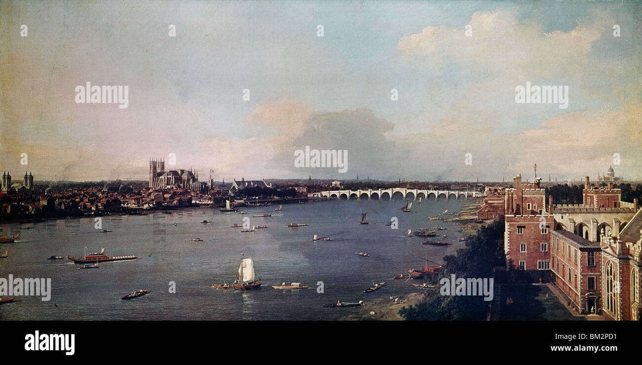 View of London With the Thames,  by Canaletto,  (1697-1768) - Stock Image
