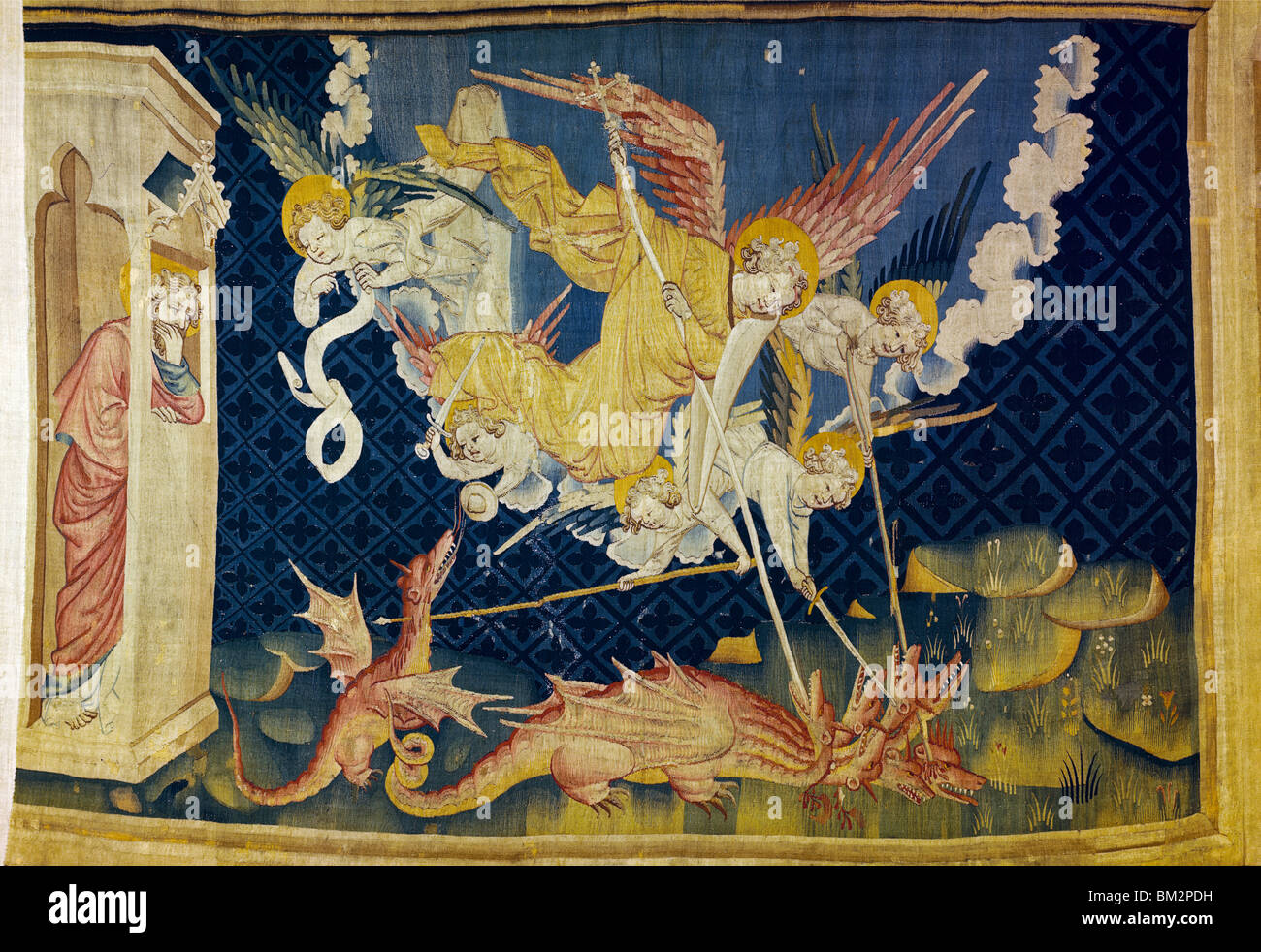 Apocalypse - St. Michael & Angels Drive out Dragon, tapestry - Stock Image