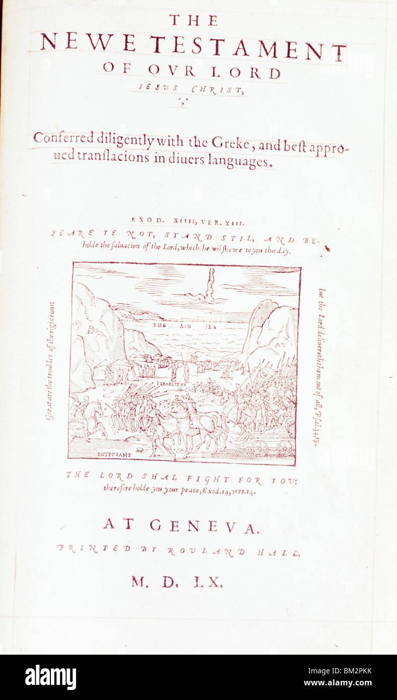 Geneva Protestant Bible,  woodcut print,  USA,  New York,  New York City,  American Bible Society,  1560 A.D. - Stock Image