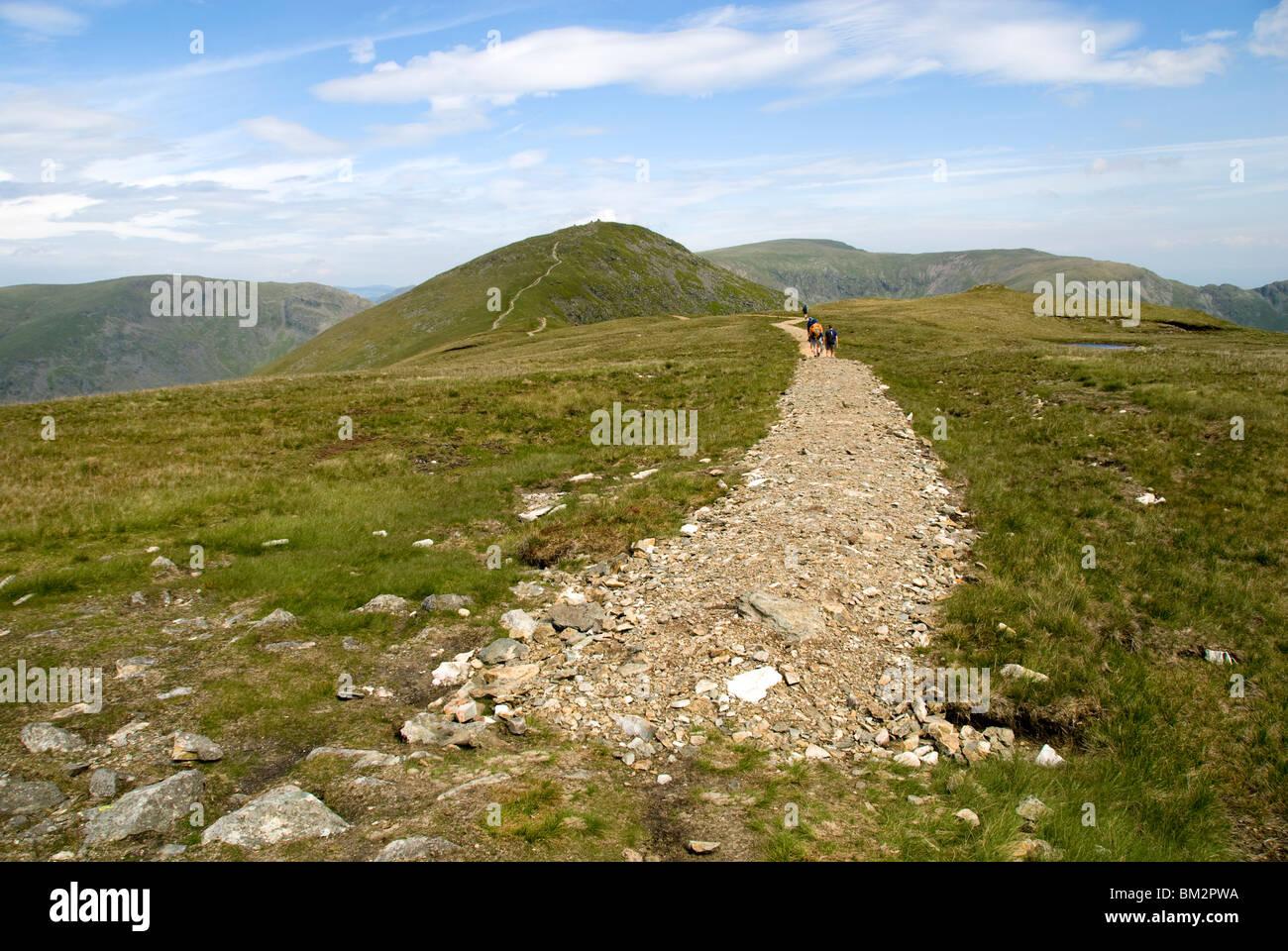 Restored footpath on the ridge of Yoke, Kentmere Horseshoe walk, Lake District, Cumbria, England, UK - Stock Image