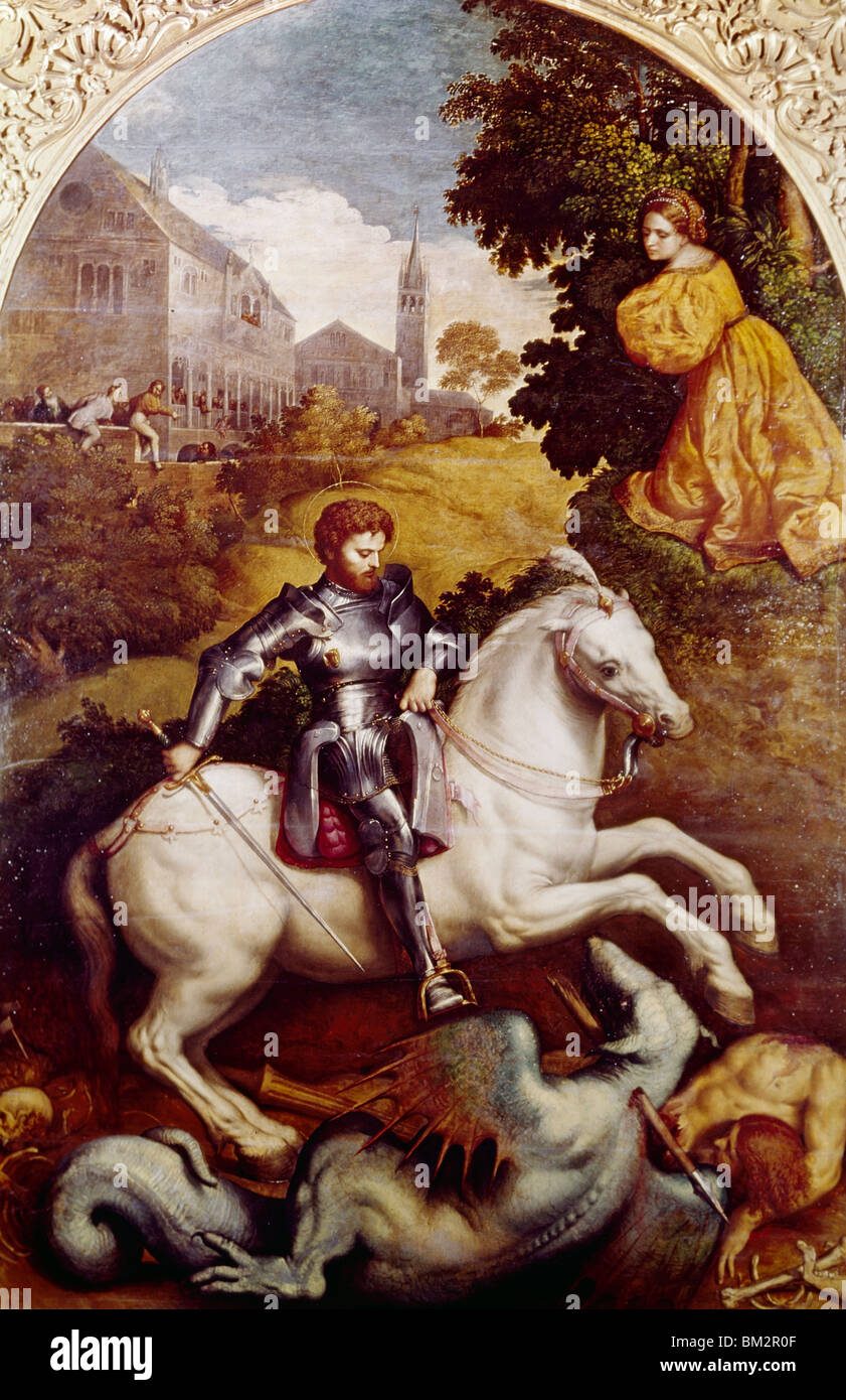 Saint George and Dragon by Paris Bordone, (1500-1571) - Stock Image